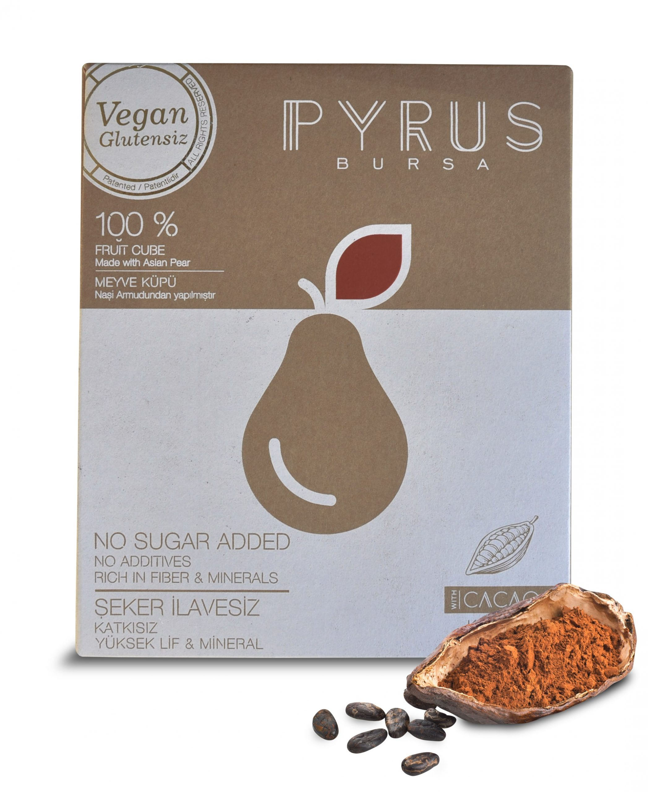PYRUS 100% Natural Fruit Cube Delights with Cacao Flavour