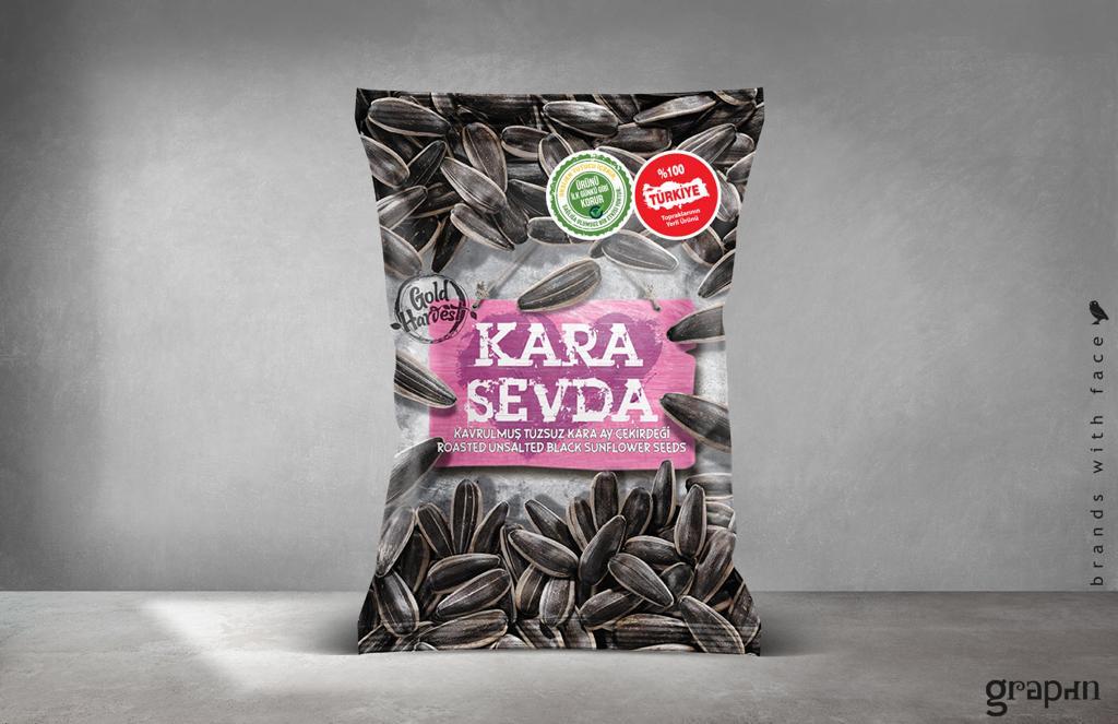 Kara Sevda Roasted Unsalted Black Sunflower Seeds 150G